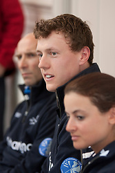 © Licensed to London News Pictures. 05/04/2012. London, U.K..Zoe De Toledo ® , Karl Hudspith (m), and Sean Bowden (l) of the oxford crew atThe Xchanging Oxford & Cambridge University Boat Race - press conference. The crews meet the press to discuss the boat race on saturday 7th April...Photo credit : Rich Bowen/LNP