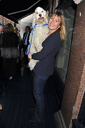 PENNY GOLDSMITH and her dog Mutley at the 10th anniversary of George in association with The Dog's Trust held at George, 87-88 Mount Street, Mayfair, London on 13th September 2011.