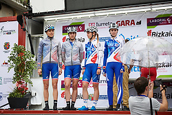 FDJ Nouvelle Aquitaine Futuroscope sign on in the rain at Emakumeen Bira 2018 - Stage 3, a 114.5 km road race starting and finishing in Aretxabaleta, Spain on May 21, 2018. Photo by Sean Robinson/Velofocus.com