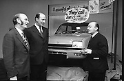 Renault 5, Launch in Dublin  (G20)..1974..25.01.1974..01.25.1974..25th January 1974..At the Burlington Hotel ,Dublin, Renault Ireland unveiled their newest addition to the fleet of cars in the Renault range. The Renault 5 will fill a niche in the small car market and is competitively priced at £1495. .Picture shows (L-R),Mr Patrick Kilroy, Chairman,Smith Motor Group, Mr Tom Lynch,Main Dealer,Renault,Cork and Mr Georges Graf,Commercial Attache,French Embassy,Dublin admiring the newly unveiled Renault 5.