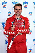 Warsaw, Poland - 2017 December 11: Tennis' player Marcin Matkowski from Poland poses to the picture while Photo Session of Davis Cup Team of Polish Tennis Association at Regent Hotel on December 11, 2017 in Warsaw, Poland.<br /> <br /> Mandatory credit:<br /> Photo by &copy; Adam Nurkiewicz / Mediasport<br /> <br /> Adam Nurkiewicz declares that he has no rights to the image of people at the photographs of his authorship.<br /> <br /> Picture also available in RAW (NEF) or TIFF format on special request.<br /> <br /> Any editorial, commercial or promotional use requires written permission from the author of image.