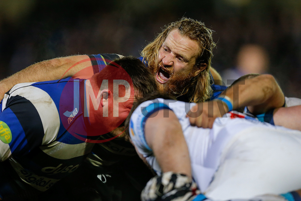 Bath Hooker Ross Batty shouts at the scrum - Photo mandatory by-line: Rogan Thomson/JMP - 07966 386802 - 12/12/2014 - SPORT - RUGBY UNION - Bath, England - The Recreation Ground - Bath Rugby v Montpellier Herault Rugby - European Rugby Champions Cup Pool 4.
