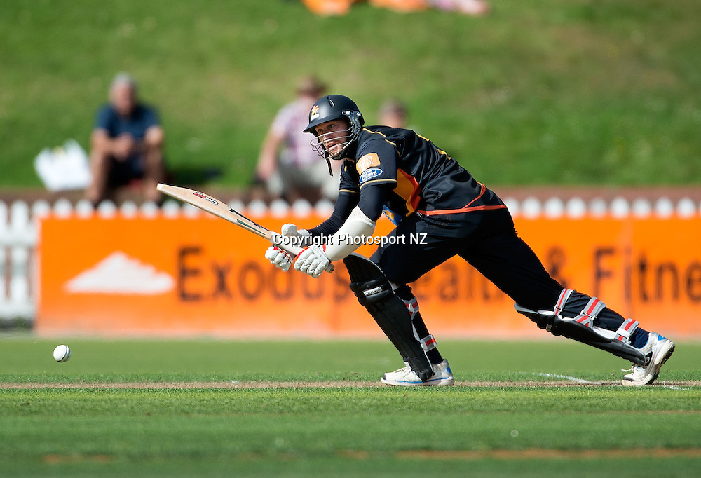 Stephen Murdoch of Wellington bats during the Ford Trophy One Day cricket match between the Wellington Firebirds and Central Districts at the Basin Reserve in Wellington on Sunday the 23rd March 2014.  Photo by Marty Melville/Photosport.co.nz