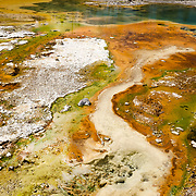 The multiple colors and patterns of geyser bacteria in Yellowstone National Park, Wyoming.