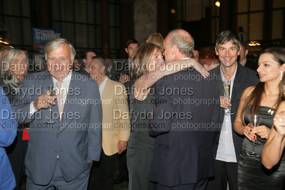 John Miller, Sarah Miller and Nicholas Coleridge. 10th Anniversary of Conde Nast Traveller magazine. Foreign and Comonwealth Office. Durbar Court. 10 September 2007. -DO NOT ARCHIVE-© Copyright Photograph by Dafydd Jones. 248 Clapham Rd. London SW9 0PZ. Tel 0207 820 0771. www.dafjones.com.