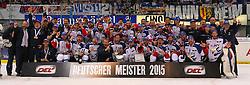 22.04.2015, Saturn Arena, Ingolstadt, GER, DEL, ERC Ingolstadt vs Adler Mannheim, Playoff, Finale, 6. Spiel, im Bild Der deutsche Meister 2015 // during Germans DEL Icehockey League 6th final match between ERC Ingolstadt and Adler Mannheim at the Saturn Arena in Ingolstadt, Germany on 2015/04/22. EXPA Pictures © 2015, PhotoCredit: EXPA/ Eibner-Pressefoto/ Strisch<br /> <br /> *****ATTENTION - OUT of GER*****