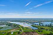 Nederland, Gelderland,  West Betuwe, 13-05-2019;  Maas gezien vanaf de Waal bij Ophmert. Werk aan Maasplassen, Kattengat, Moordhuizen<br /> Maas and Meuseworks seen from the Waal near Ophmert.<br /> aerial photo (additional fee required);<br /> luchtfoto (toeslag op standard tarieven);<br /> copyright foto/photo Siebe Swart
