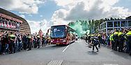 ROTTERDAM, Feyenoord - Ajax, voetbal Eredivisie, seizoen 2014-2015, 21-09-2014, Stadion de Kuip, de bus met Ajax spelers en staf arriveert bij de Kuip, .