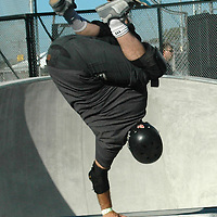 Skaters ride at the Santa monica Skatepark during opening day on June 2005.