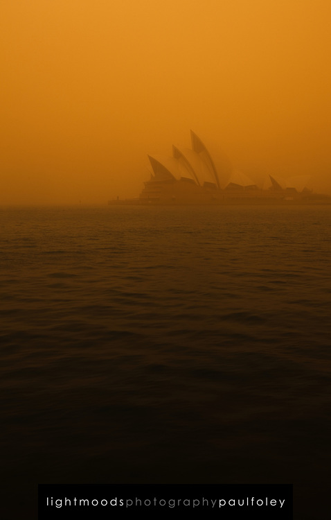 Sydney Opera House during dust storm, September 23, 2009. The Dust storm was caused by gale force winds blowing in from the drought stricken inland. The storm was described as being the worst in 70 years.