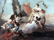 Rinaldo Enchanted by Armida', 1742.  Painting by Giovanni Battista Tiepelo (1696-1770) Italian artist.  The hero Rinaldo falls nder the spell of the beautiful sorceress Armida and wastes his time in voluptuous pleasure.