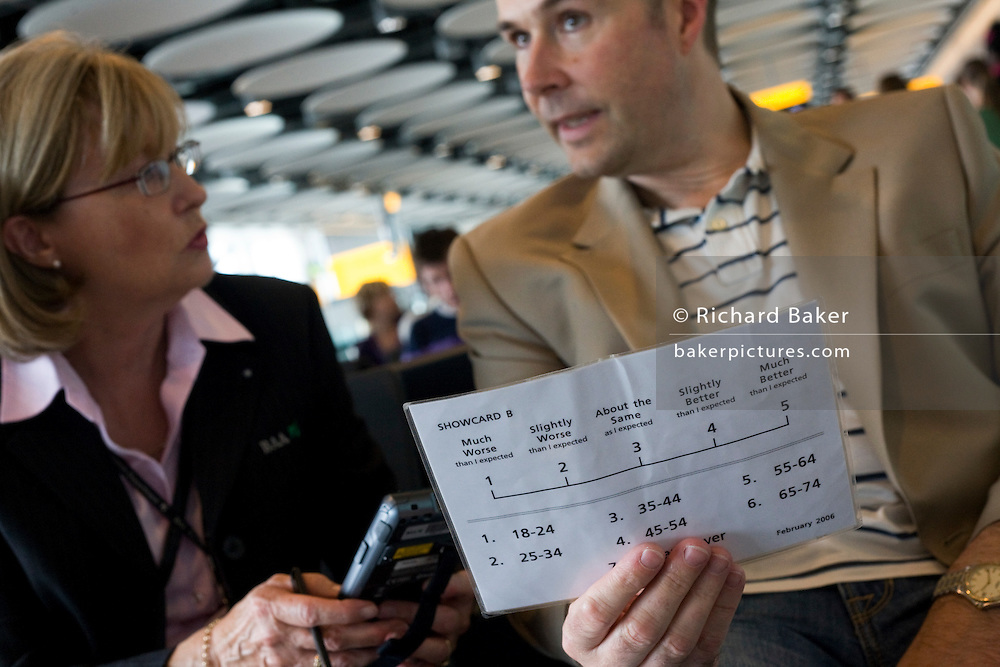 A market researcher working for the Heathrow Aiport operator BAA, conducts her surveys in the departures concourses of T5.