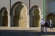 Morocco, Fez. Tourist visiting Royal Palace (Dar el-Makhzen)