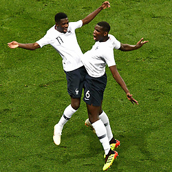 Ousmane Dembele of France celebrates his goal with Paul Pogba during the International Friendly match between France and Italy at Allianz Riviera Stadium on June 1, 2018 in Nice, France. (Photo by Pascal Della Zuana/Icon Sport)