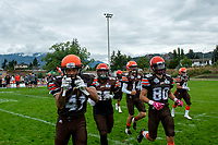 KELOWNA, BC - SEPTEMBER 8:  Nate Adams #41 of Okanagan Sun hams it up for the camera as he enters the field against the Langley Rams  at the Apple Bowl on September 8, 2019 in Kelowna, Canada. (Photo by Marissa Baecker/Shoot the Breeze)