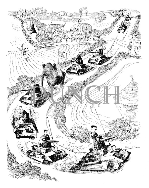 (A convoy of tanks rolls through the English countryside mixed up with a circus procession)