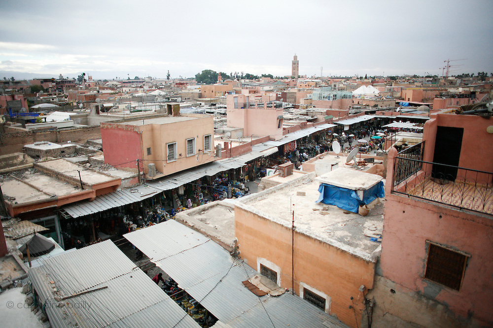 Marrakesh, Morocco. December 20th 2007..View on the souk