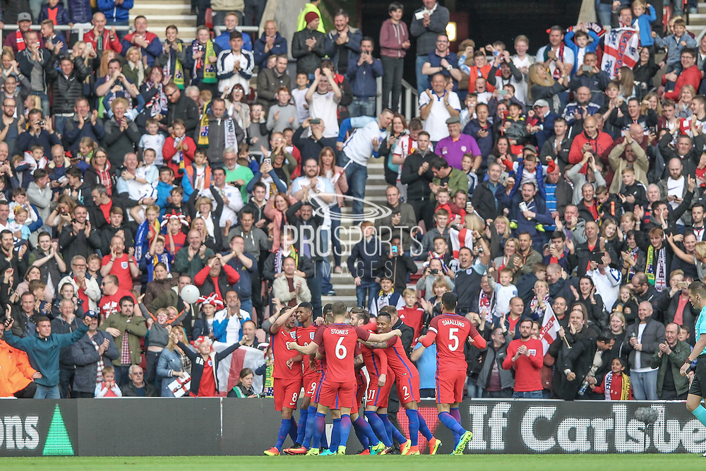 England celebrate scoring the opening goal in front of the fans. 1-0 during the Friendly International match match between England and Australia at the Stadium Of Light, Sunderland, England on 27 May 2016. Photo by Mark P Doherty.