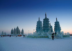 Large ice sculptures at Ice Festival in Harbin China 2009