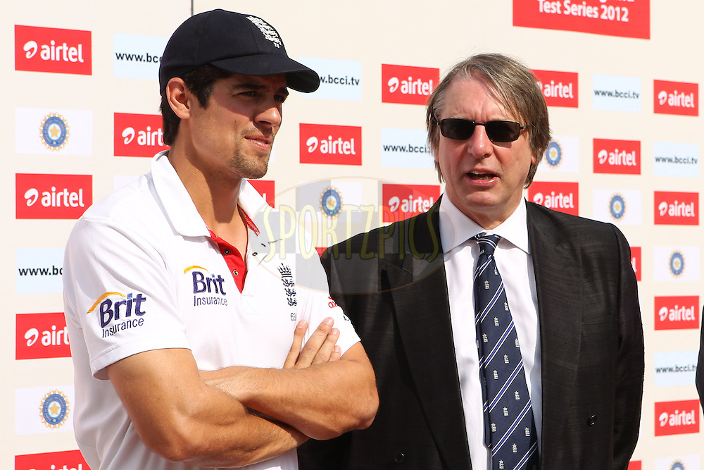 Alastair Cook - Captain of England chats with Giles Clarke (ECB Chairman ) during day five of the 3rd Airtel Test Match between India and England held at Eden Gardens in Kolkata on the 9th December 2012..Photo by Ron Gaunt/BCCI/SPORTZPICS ..Use of this image is subject to the terms and conditions as outlined by the BCCI. These terms can be found by following this link:..http://www.sportzpics.co.za/image/I0000SoRagM2cIEc