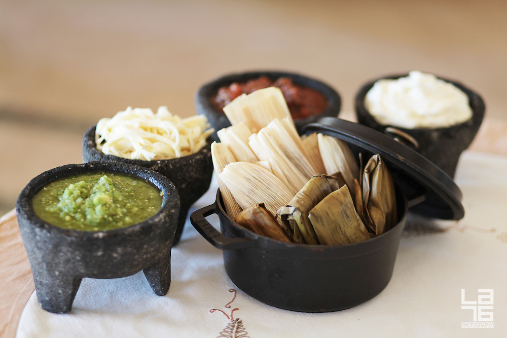 Tamales as prepared at Don Manuel's restaurant at Capella Pedregal Hotel and Resort, Cabo San Lucas, Mexico