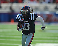 Ole Miss cornerback Charles Sawyer (3) intercepts a pass at Vaught-Hemingway Stadium in Oxford, Miss. on Saturday, October 2, 2010. Ole Miss won 42-35 to improve to 3-2..