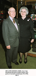 MR & MRS GERSON LEIBER, she is top handbag designer Judith Leiber, at a party in London on October 7th 1996.LSP 3