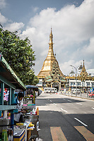 Sule Pagoda sits in the middle of Yangon traffic, Burma.