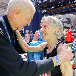 Boston Marathon<br /> Joan Benoit Samuelson greeted by George Hirsch after she finishes the Boston Marathon