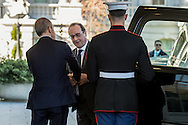 French President Francois Hollande, right, arrives at the White House in Washington, D.C. Nov. 24, 2015. Hollande and U.S. President Barack Obama will be expected to discuss the coordinated terror attacks that left 129 people dead in Paris as well as Russia and Turkey.