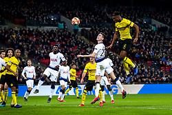 Dan-Axel Zagadou of Borussia Dortmund heads the ball at goal - Mandatory by-line: Robbie Stephenson/JMP - 13/02/2019 - FOOTBALL - Wembley Stadium - London, England - Tottenham Hotspur v Borussia Dortmund - UEFA Champions League Round of 16, 1st Leg