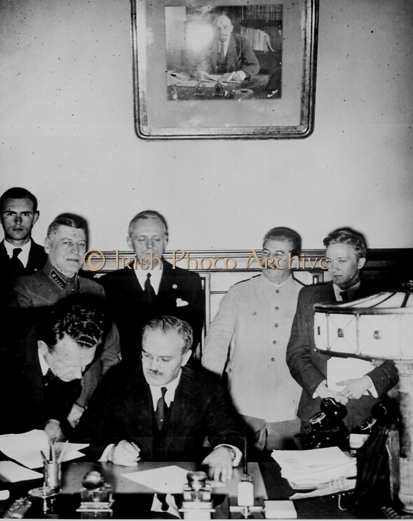 The Molotov–Ribbentrop Pact, named after the Soviet foreign minister Molotov and the German foreign minister von Ribbentrop, was an agreement known as the Treaty of Non-Aggression between Germany and the Soviet Union[, signed in Moscow 23 August 1939.