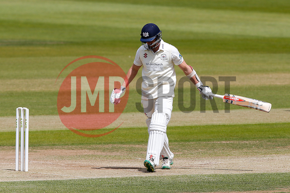 Michael Klinger of Gloucestershire looks dejected after he is Caught by Alex Davies of Lancashire (Bowled James Faulkner) for 62 - Photo mandatory by-line: Rogan Thomson/JMP - 07966 386802 - 10/06/2015 - SPORT - CRICKET - Bristol, England - Bristol County Ground - Gloucestershire v Lancashire - Day 4 - LV= County Championship Division Two.