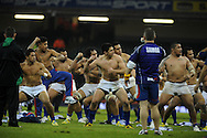 The Samoans celebrate their win. Dove Men series, autumn international rugby international, Wales v Samoa at the Millennium stadium,  Cardiff in South Wales on Friday 16th November 2012.  pic by Andrew Orchard, Andrew Orchard sports photography,