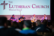LCMS President Matthew C. Harrison (left) joins the band 'Old School' for a concert at the Stadthaus on Saturday, May 2, 2015, in Wittenberg, Germany. Band members (L-R) the Rev. Russell Tkac, pastor at Peace Lutheran Church, Waterford, Mich., Rob Bourassa of Wyandotte, Mich., and Ross Holmes, who grew up attending Christ Lutheran Church in Fort Worth, Texas, and who currently resides in Nashville, Tenn, join President Harrison. The band 'Lost and Found' also played at the concert following 'Old School.' LCMS Communications/Erik M. Lunsford