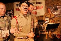 USO show at Abu Ghraib prison<br /> <br /> photograph by Owen Franken/USO<br /> <br /> Sgt Maj of the Army Kenneth Preston Al Franken, USO tour