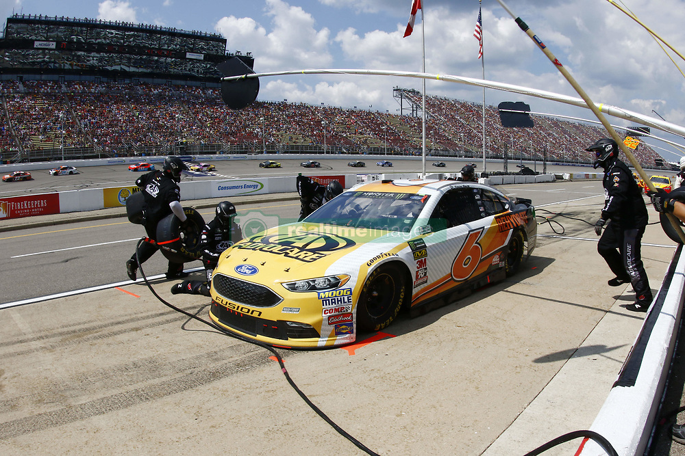 August 12, 2018 - Brooklyn, Michigan, United States of America - Trevor Bayne (6) brings his car down pit road for service during the Consumers Energy 400 at Michigan International Speedway in Brooklyn, Michigan. (Credit Image: © Chris Owens Asp Inc/ASP via ZUMA Wire)