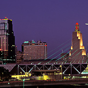 Missouri, Kansas City Skyline With Bartles Sculpture At Dusk