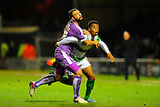Plymouth Argyle's Jordon Forster and Yeovil Town's Tahvon Campbell during the Sky Bet League 2 match between Yeovil Town and Plymouth Argyle at Huish Park, Yeovil, England on 23 February 2016. Photo by Graham Hunt.