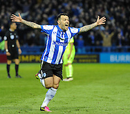 Ross Wallace of Sheffield Wednesday celebrates scoring to make it 1-0 during the Sky Bet Championship Playoff Semi Final First Leg at Hillsborough, Sheffield<br /> Picture by Richard Land/Focus Images Ltd +44 7713 507003<br /> 13/05/2016