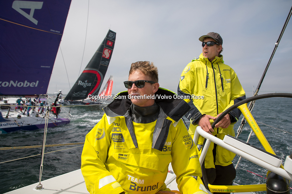 Leg 9, from Newport to Cardiff, day 1 on board Brunel. Kyle Langford and Peter Burling on the start line. 20 May, 2018.