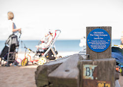 Cressida is Back! The octopus sculpture on Portobello Beach, damaged in the winter storms, has been repaired and reinstalled at the end of the groyne at the foot of Bath Street, Portobello. The scuplture, created by local artist Lauren Fox (email laurenfox@hotmail.com), was originally created for Art Walk Porty 2015. It has been repaired with financial assistance from The Velvet Easel Gallery, Portobello, the Portobello Community Council and the people of Portobello, just in time for Art Walk 2016 which launches next Thursday, Sept 1st 2016.<br /> <br /> <br /> © Jon Davey/ EEm