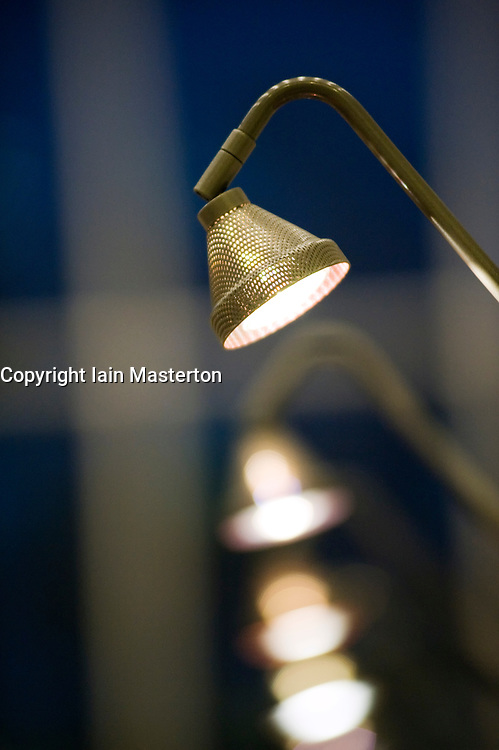 Detail of lights inside main public library in Malmo Sweden
