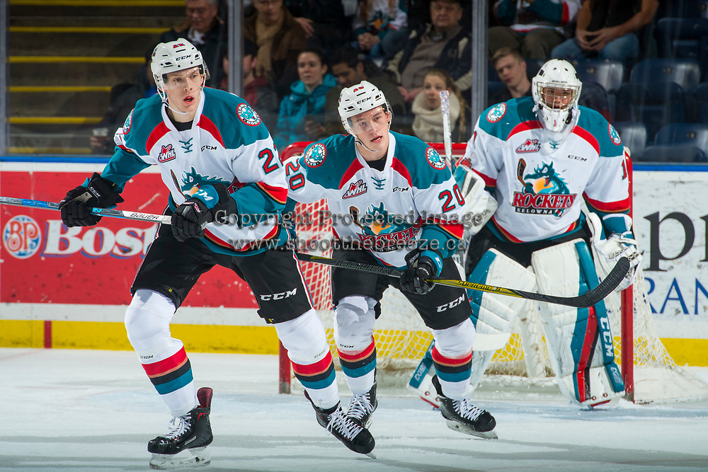 KELOWNA, CANADA - JANUARY 5: Braydyn Chizen #22 and Conner Bruggen-Cate #20 of the Kelowna Rockets skate up the ice against the Seattle Thunderbirds on January 5, 2017 at Prospera Place in Kelowna, British Columbia, Canada.  (Photo by Marissa Baecker/Shoot the Breeze)  *** Local Caption ***