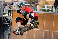 ORLANDO, FL -  JANUARY 28:  Skateboarder Tony Hawk performs during his Grand Jam at Universal Orlando January 28, 2006 in Orlando, Florida. Hawk and his crew performed two shows on Saturday and are scheduled to perform two more on Sunday(Photo by Matt Stroshane/Getty Images)