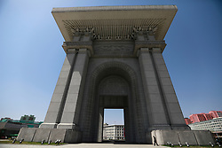 A view of the Arc of Triumph in Pyongyang, North Korea, 12 April 2017. North Koreans prepare to celebrate the 'Day of the Sun Festival', 105th birthday anniversary of former North Korean supreme leader Kim Il-sung in Pyongyang on 15 April.