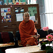 "May 14, 2013 - Mandalay, Myanmar: Ashin Wirathu, the buddhist monk leader of Burma's anti-Muslim movement 969 group, at his office in Mosayein Monastery in central Mandalay. Wirathu, who was jailed in 2003 for inciting religious hatred, refers to himself as ""the Burmese Bin Laden"". CREDIT: Paulo Nunes dos Santos"