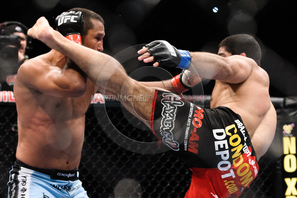 "ATLANTA, GEORGIA, SEPTEMBER 6, 2008: Dan Henderson (left) and Rousimar Palhares trade blows during ""UFC 88: Breakthrough"" inside Philips Arena in Atlanta, Georgia on September 6, 2008"