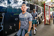 Leeds United midfielder Kalvin Phillips (23) arrives during the Pre-Season Friendly match between Guiseley  and Leeds United at Nethermoor Park, Guiseley, United Kingdom on 11 July 2019.