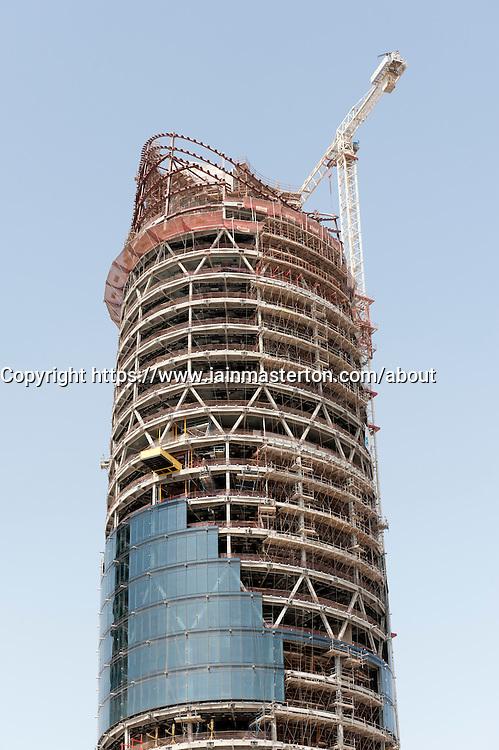 Construction of Al Bahr Towers in Abu Dhabi UAE by  architect  Aedas